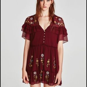 Zara embroidered frilled dress